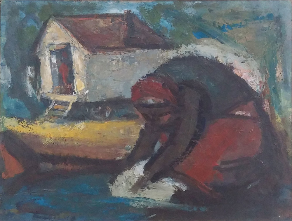 Washer Woman,  oil, 28x24  Pathways Private Collection