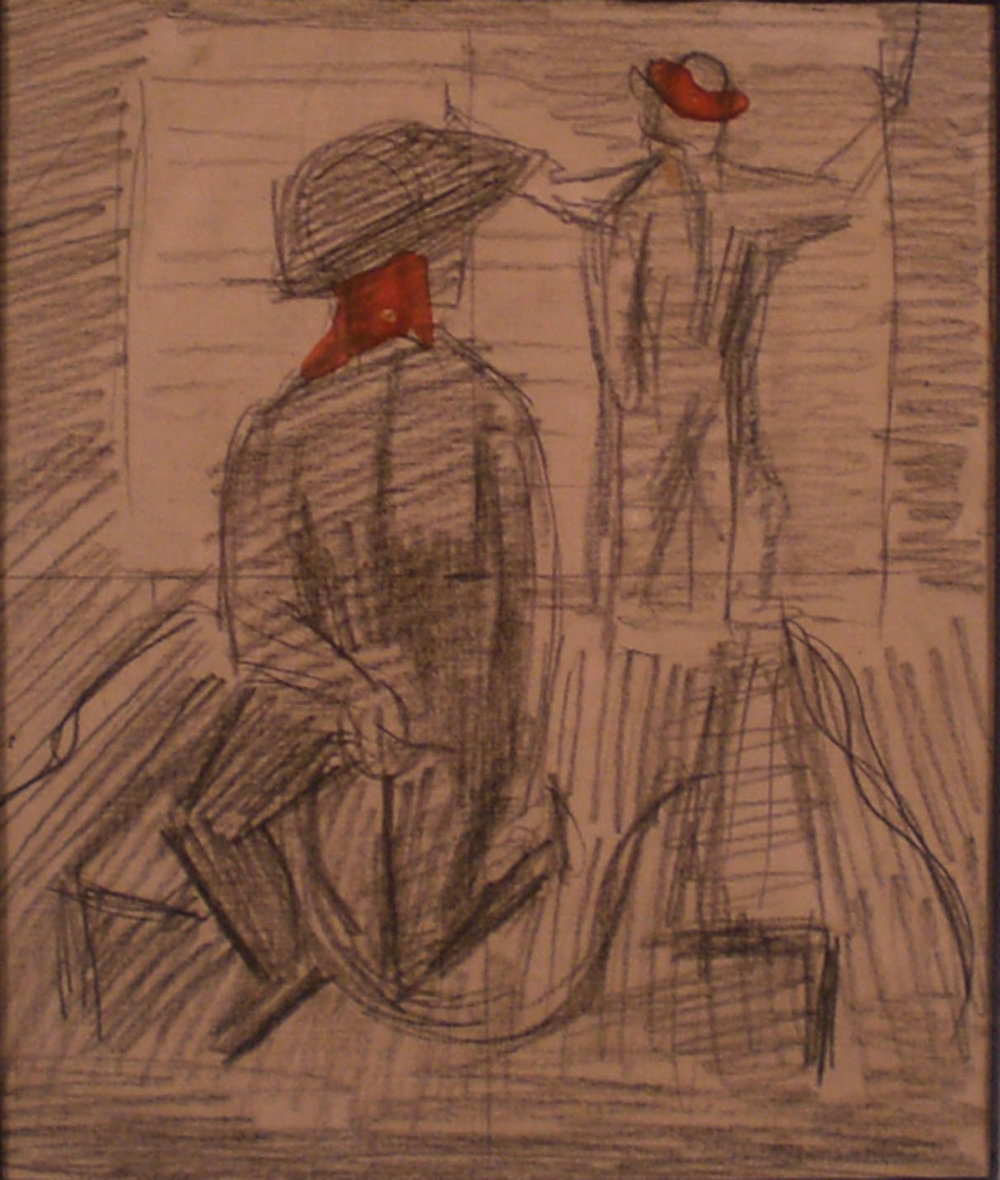Shipyard Welders, Self Portrait – Study, 12x14 Pathways Private Collection