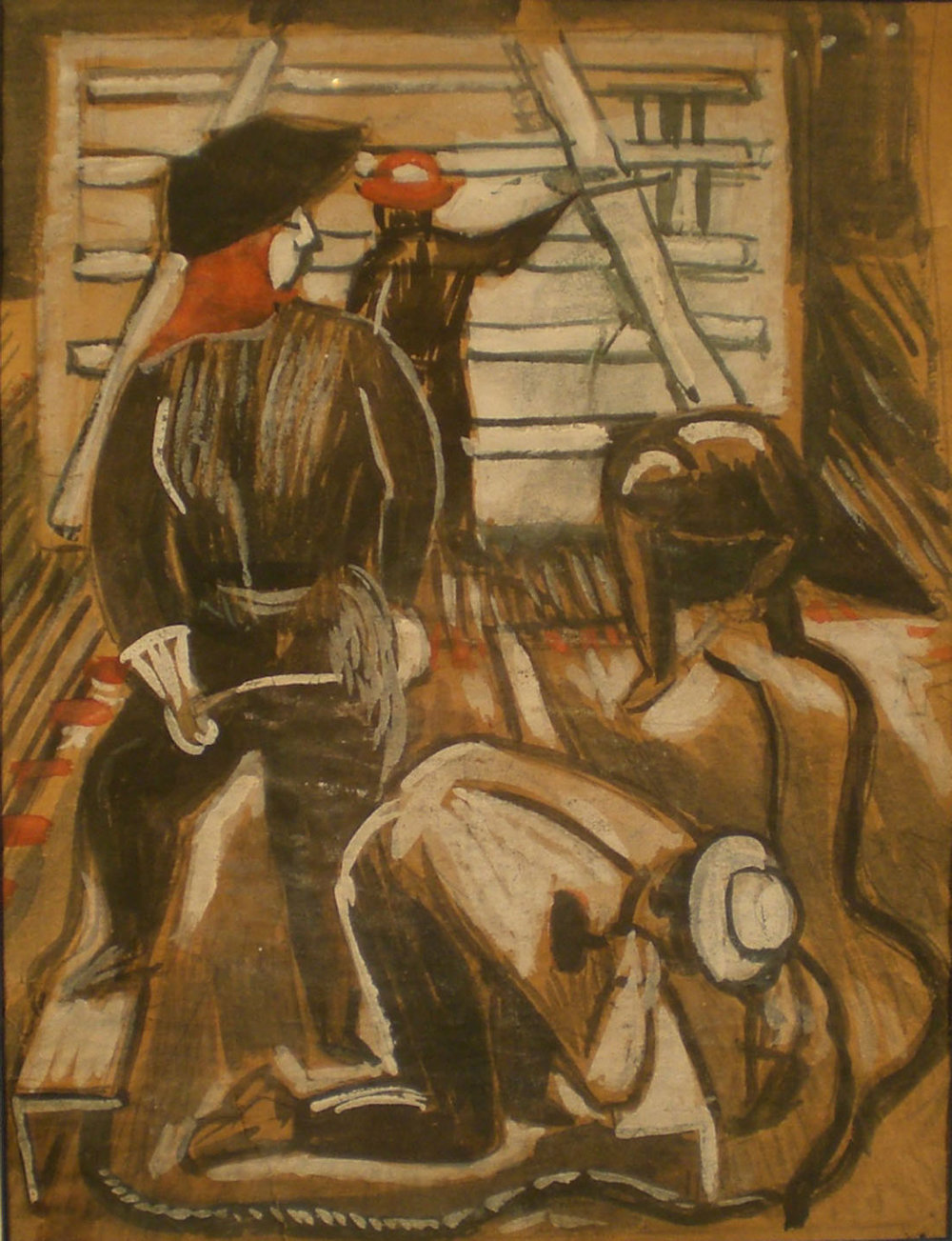 Shipyard Welders, Self Portrait, water color, 16x18 Pathways Private Collection