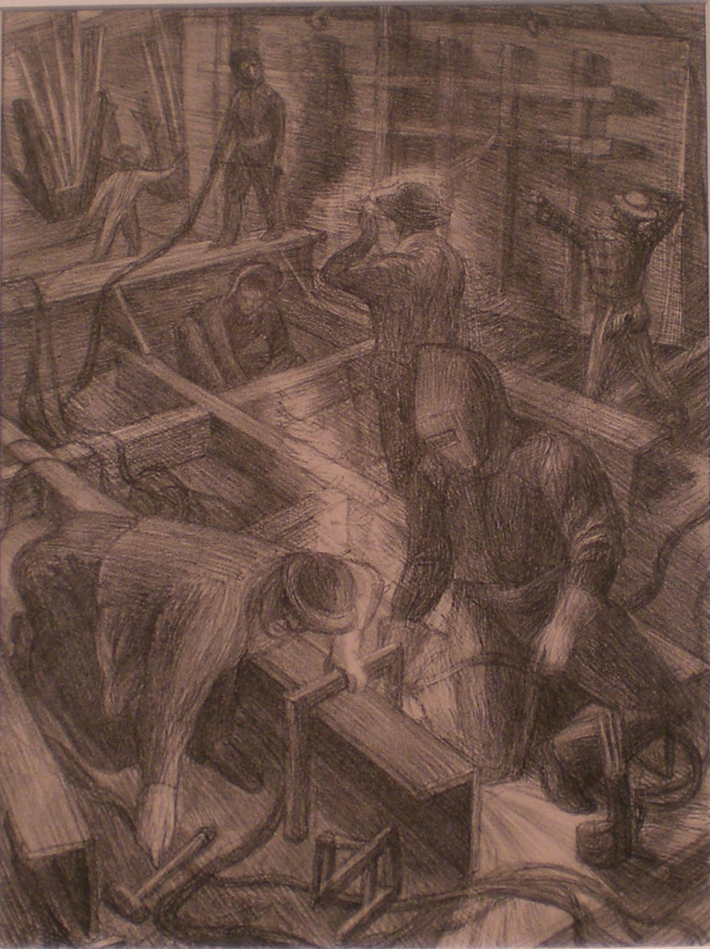 Shipyard Workers , print, 17 x 15  P athways Private Collection