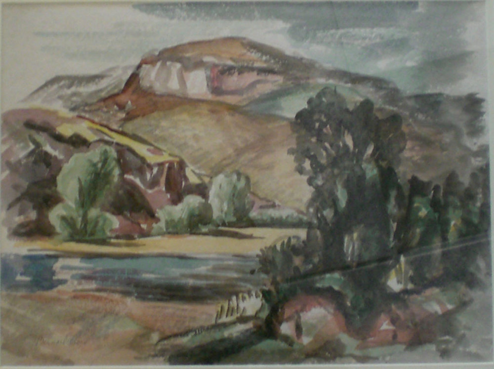 Columbia River , water color, 26x22  Pathways Private Collection
