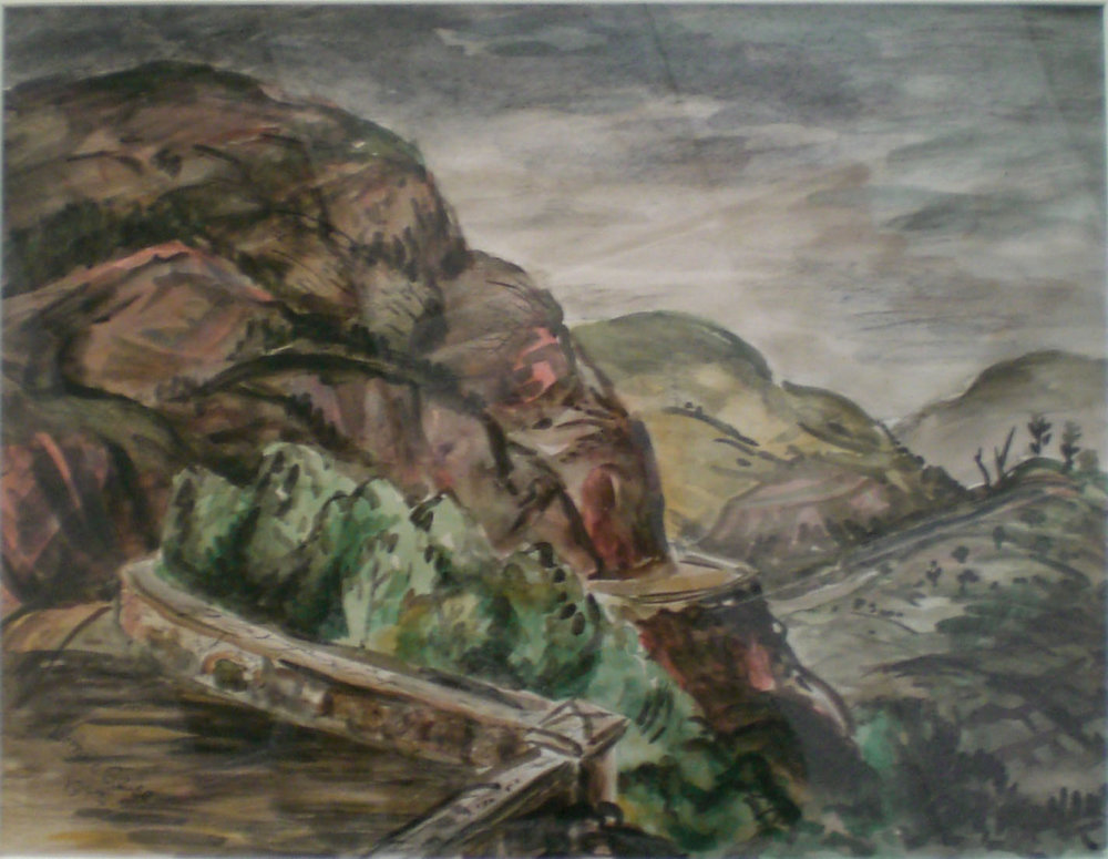 Columbia River Gorge Highway , water color, 26x2  Pathways Private Collection