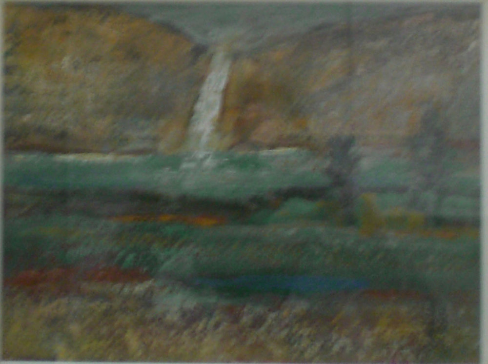 Waterfall , oil, 17x15  Pathways Private Collection