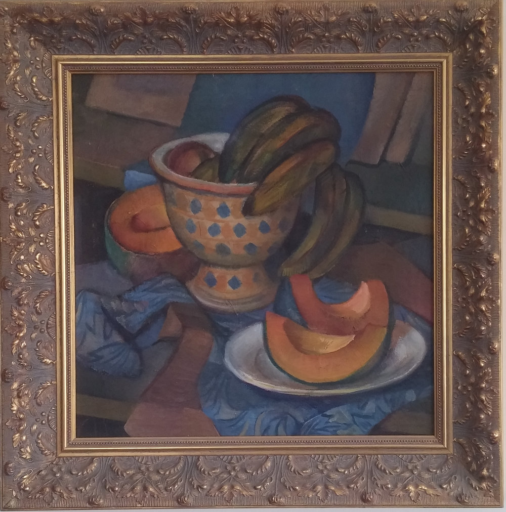 Still Life with Melons, oil, 23x23 Pathways Private Collection