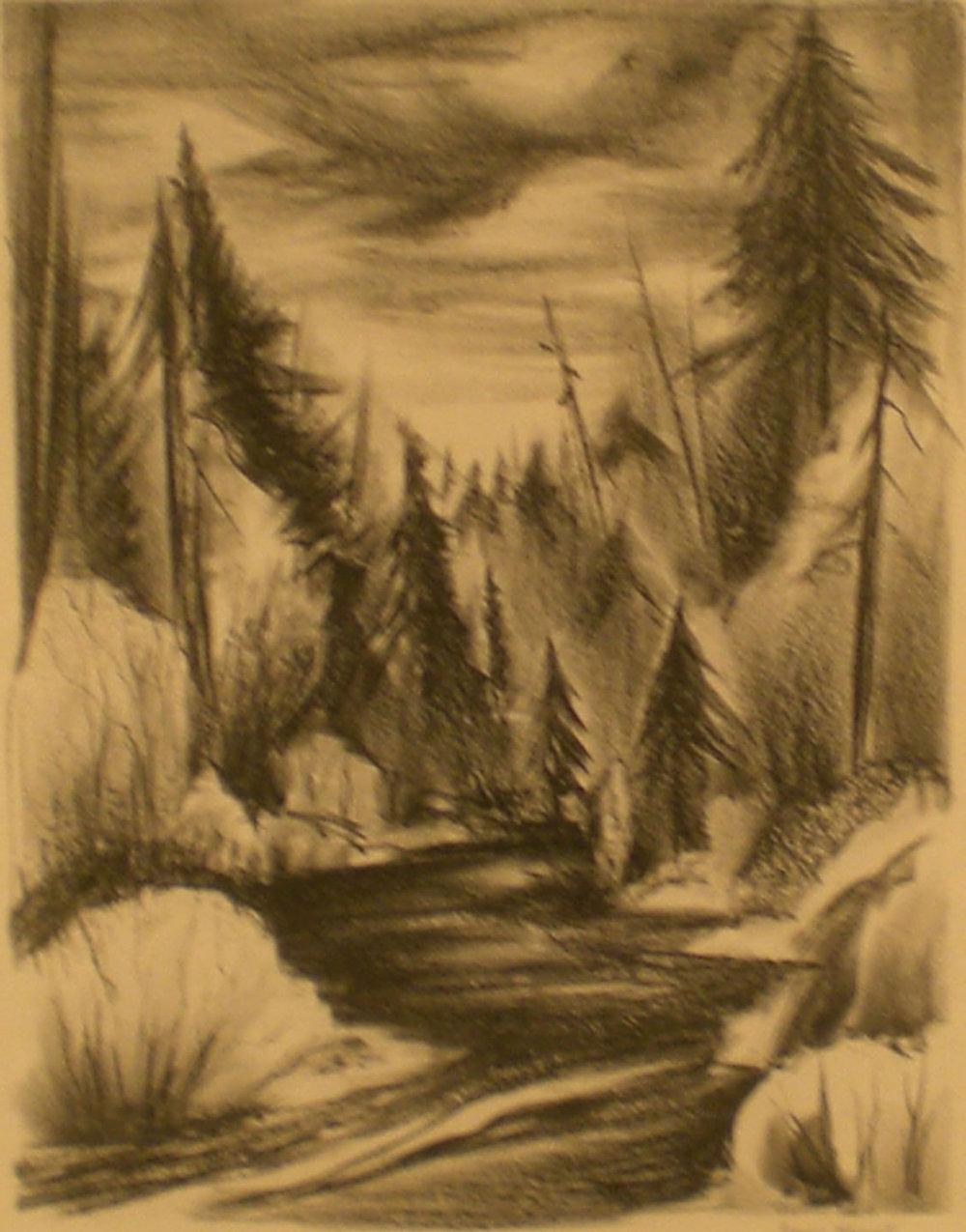 Oregon River , print, 19 x 22 ½  Pathways Original Print Collection
