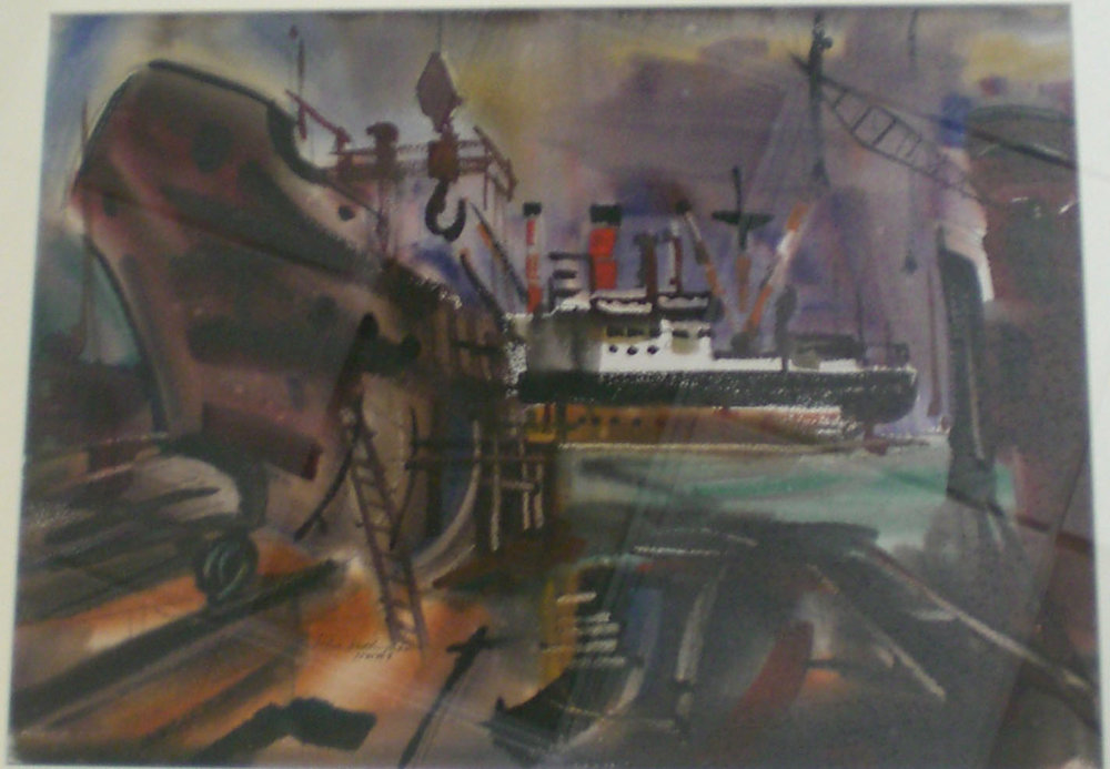 Shipyard, water color, 32x25 Pathways Private Collection