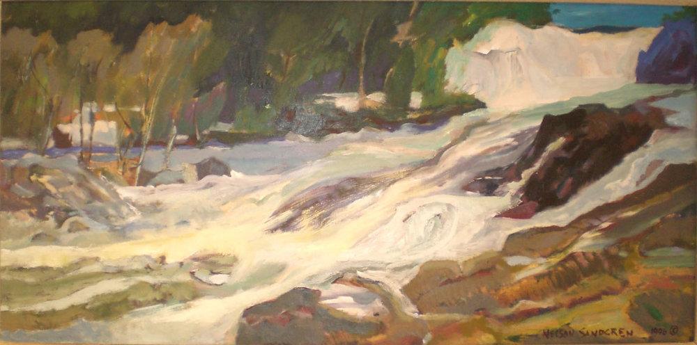 Luckiamute River, oil, 36 x 16 NFS Nelson Sandgren