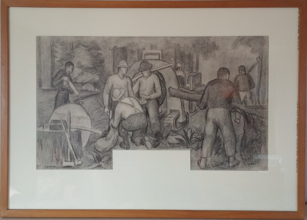 Mill Workers Cedro Wooley – mural study III  – 32x22 $2,000  Arthur Runquist