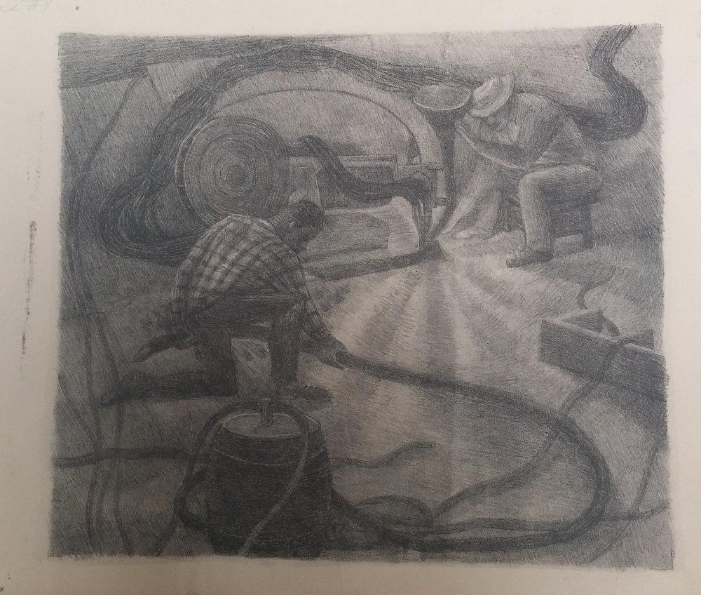 Shipyard Workers , print, 14x17 $200  Arthur Runquist