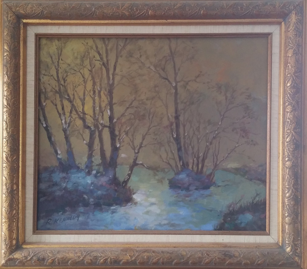 Winter Scene , oil, 20x16  Pathways Private Collection