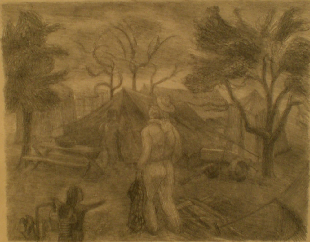 Tent and Workers , 13 ½ x 15 ½  Martina Gangle Curl