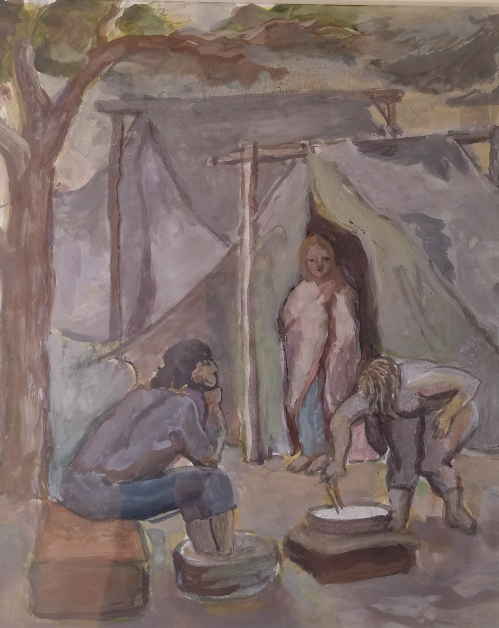 Migrant Workers in Tent, gouache, 6x12 Pathways Private Collection