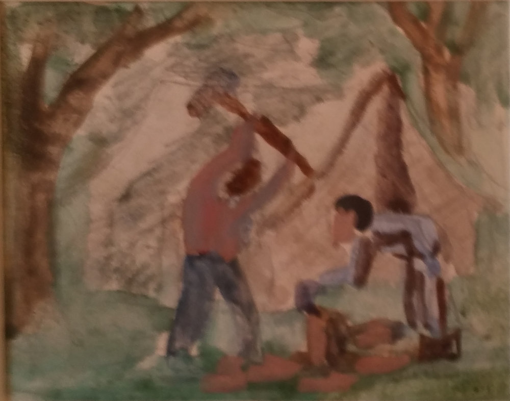 Migrant Workers chopping wood, water color, 3x4 Pathways Private Collection