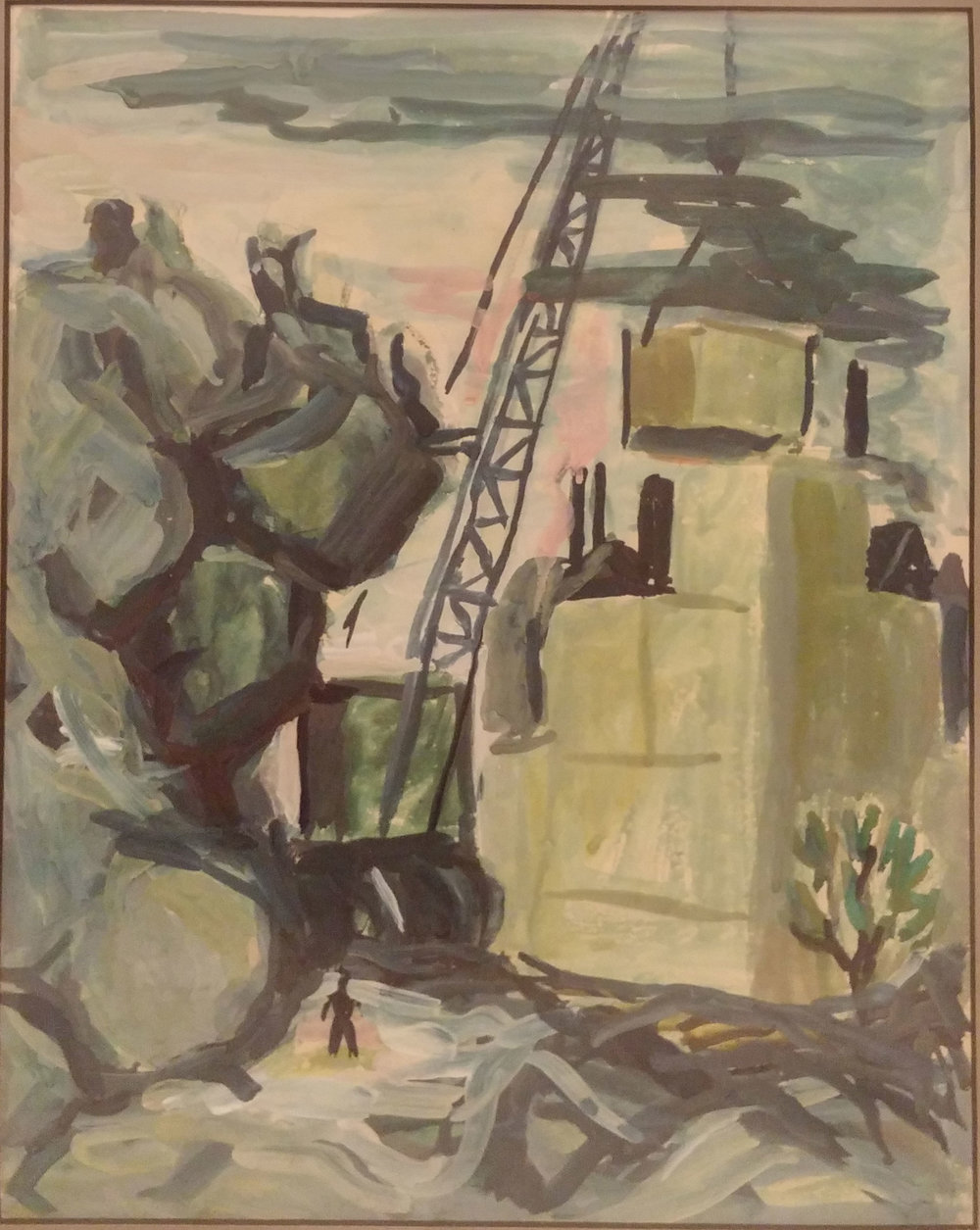 Industrial Crane,  gouache, 18x22 $450  Arthur Runquist