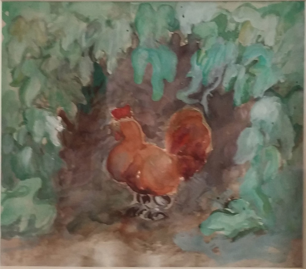 Hen in garden , water color, 15x14 $250 SOLD  Martina Gangle Curl