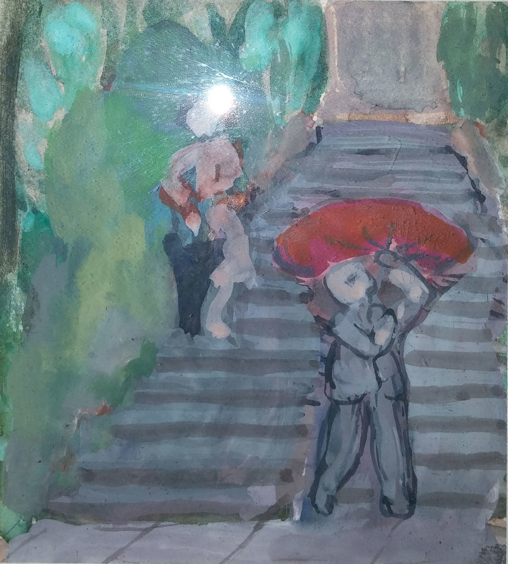 People on Stairway , water color, 3x4 $100  Martina Gangle Curl