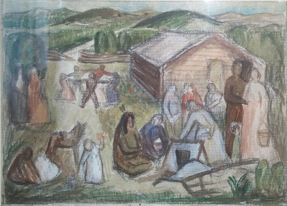 Pioneer Mural Study , water color, 3x4  Pathways Private Collection