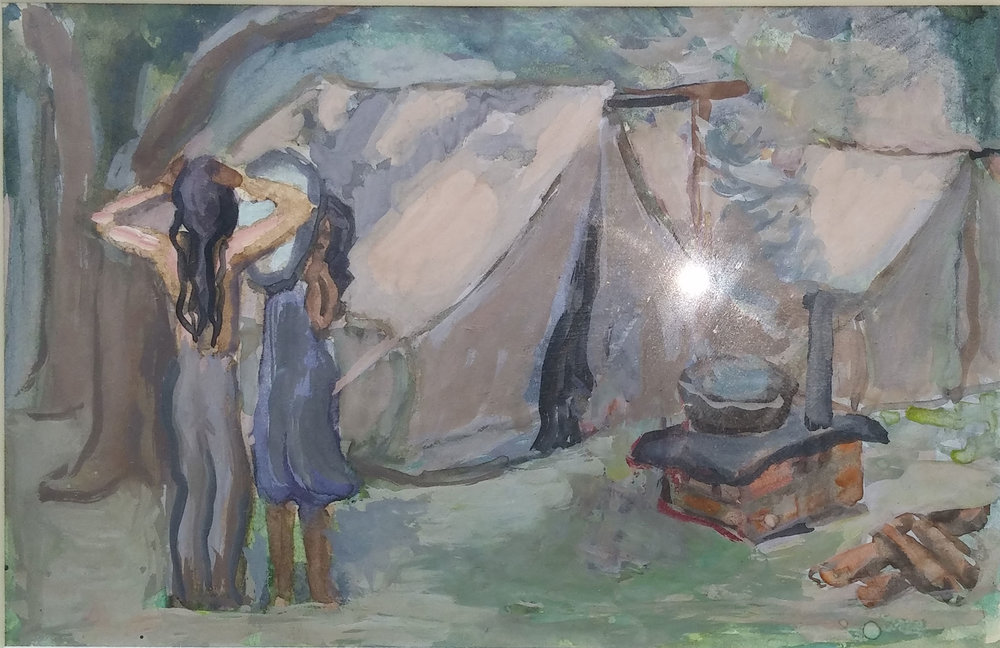 Migrant Girls, water color, 5x10 Pathways Private Collection