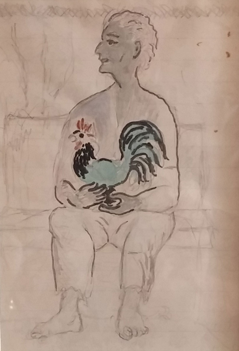 Self-portrait Holding Chicken, water color sketch, 12x14 Pathways Private Collection
