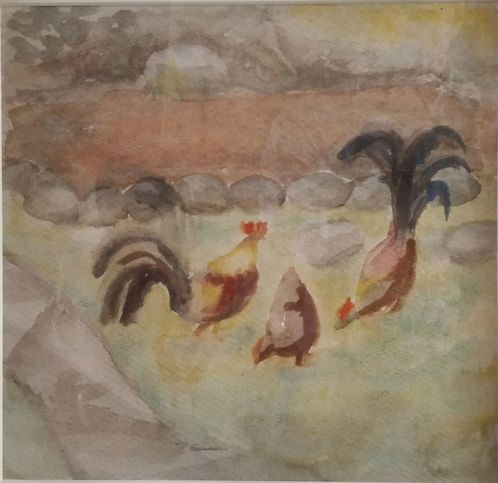 Roosters Demonstrating, water color, 16x16 Pathways Private Collection