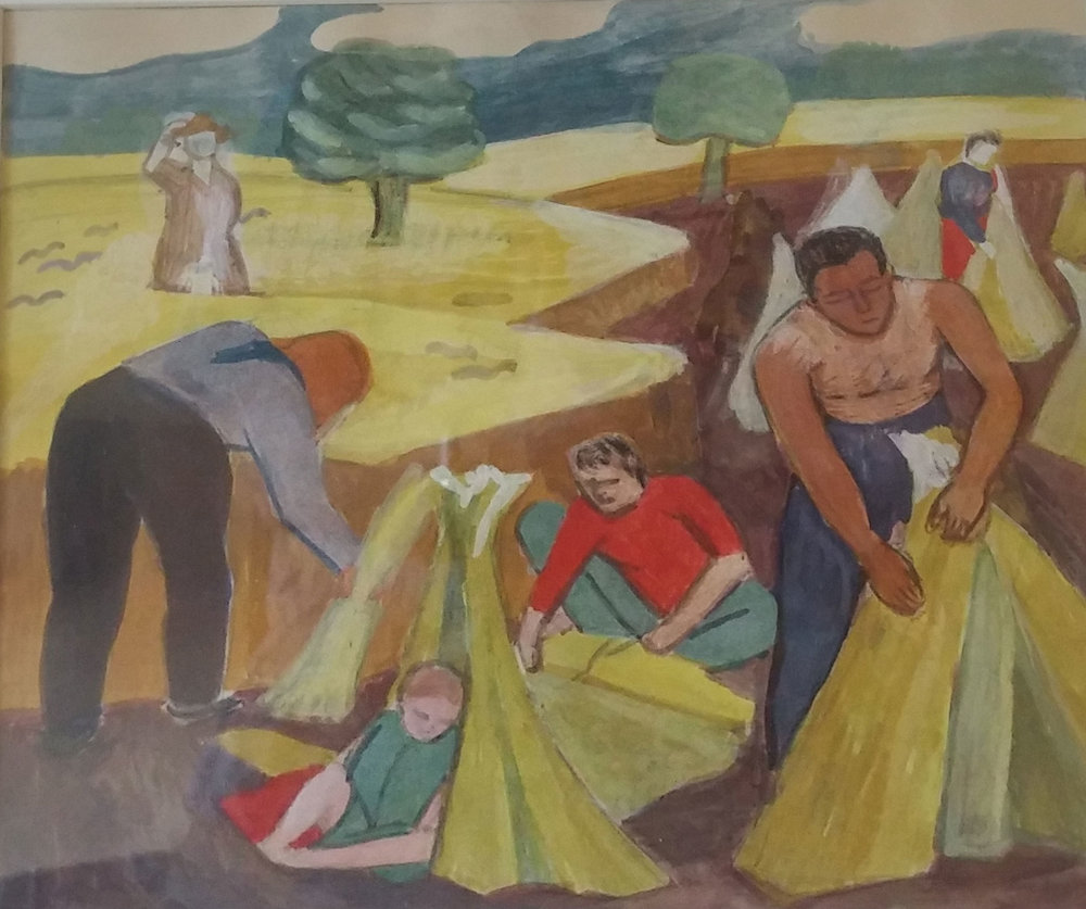Wheat Harvesters, water color, 19x18 Pathways Private Collection