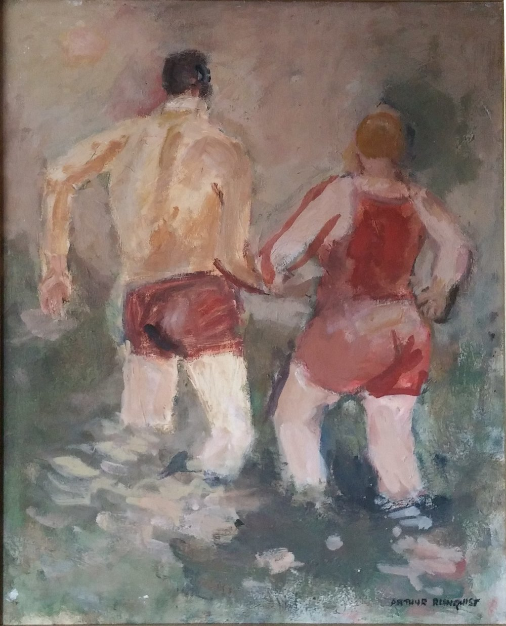 Bathers , Oil, 18x24  Pathways Private Collection