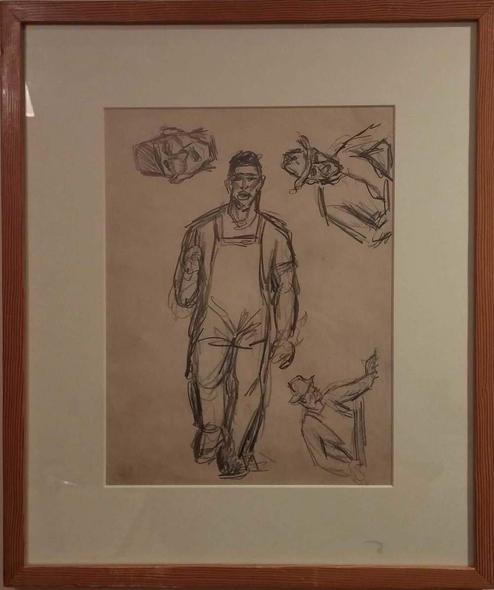 Shipyard Worker II,  pencil sketch, 14x17 $450  Arthur Runquist