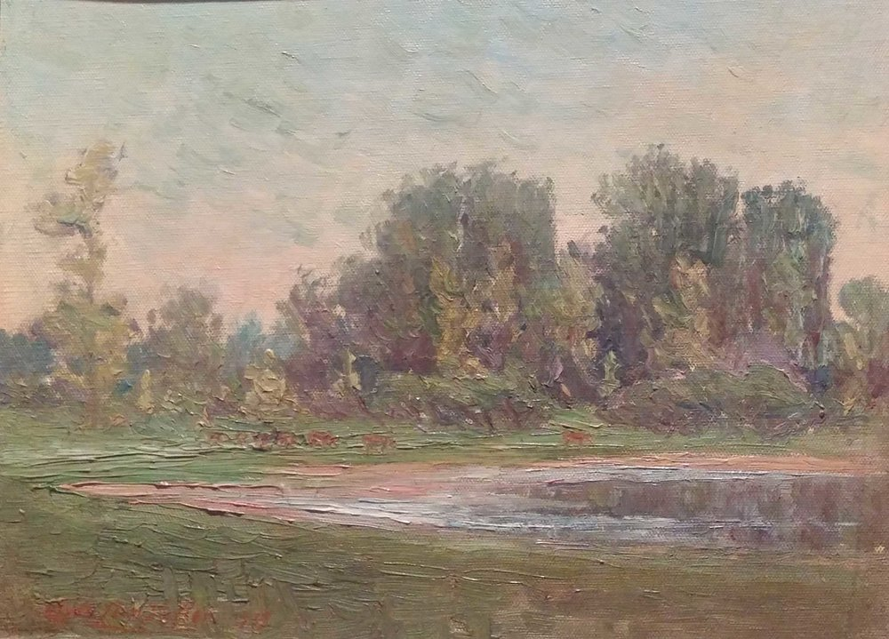 Sauvie Island  oil, 18x12 $5,000  Clyde Leon Keller