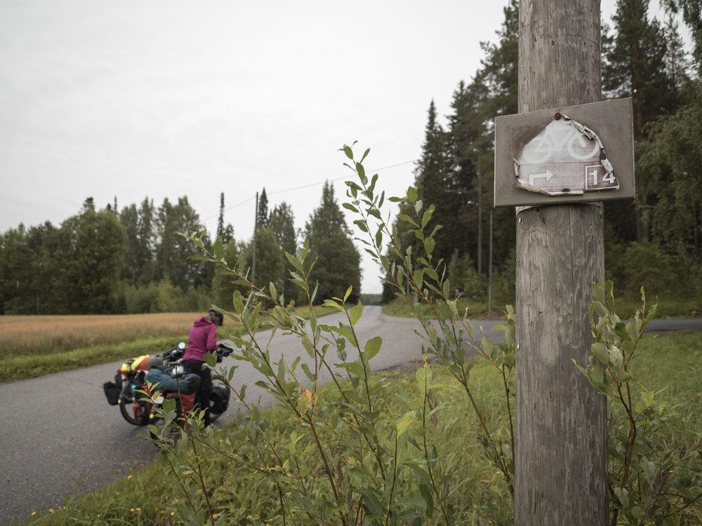 Momol, die Radwege in Finnland sind toll beschildert