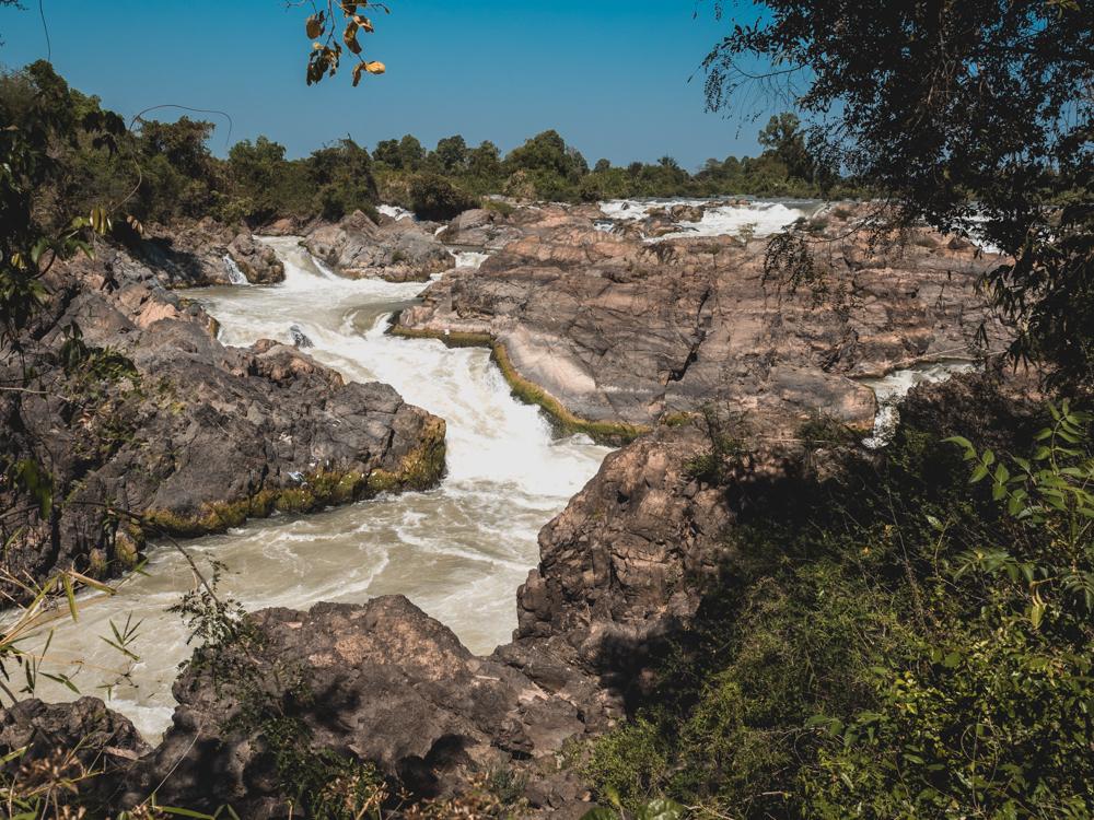 Die riesen Stromschnellen des Mekongs sind ziemlich eindrücklich