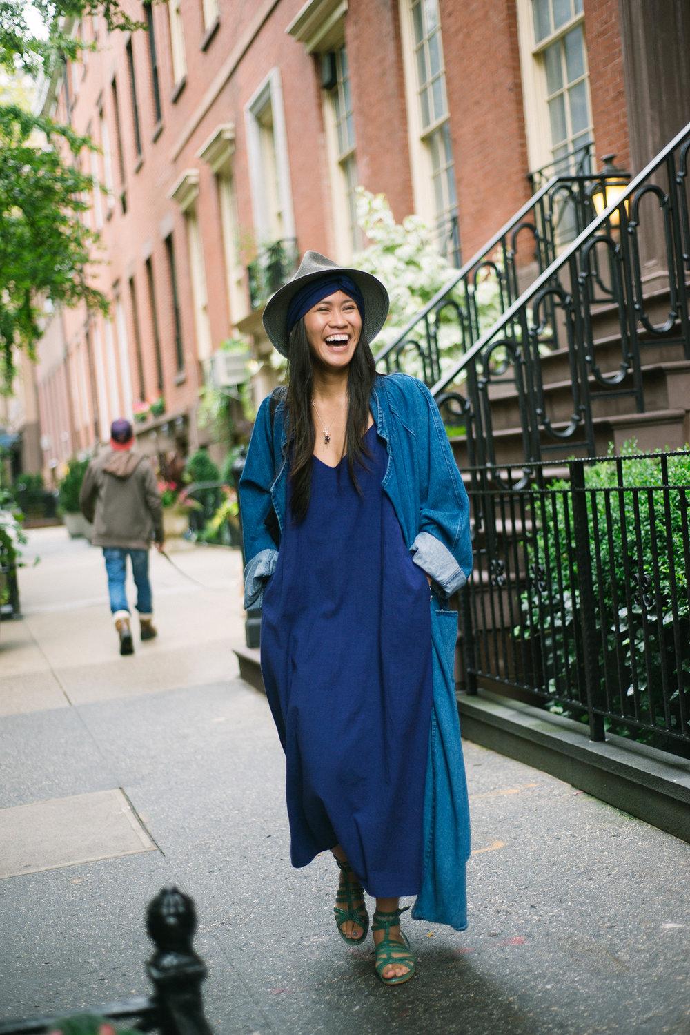Sarah in  The Cala Slip Dress  in indigo