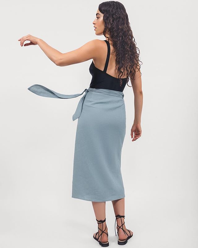 The Midi Pareo Wrap Skirt • limited quantities available in sky blue