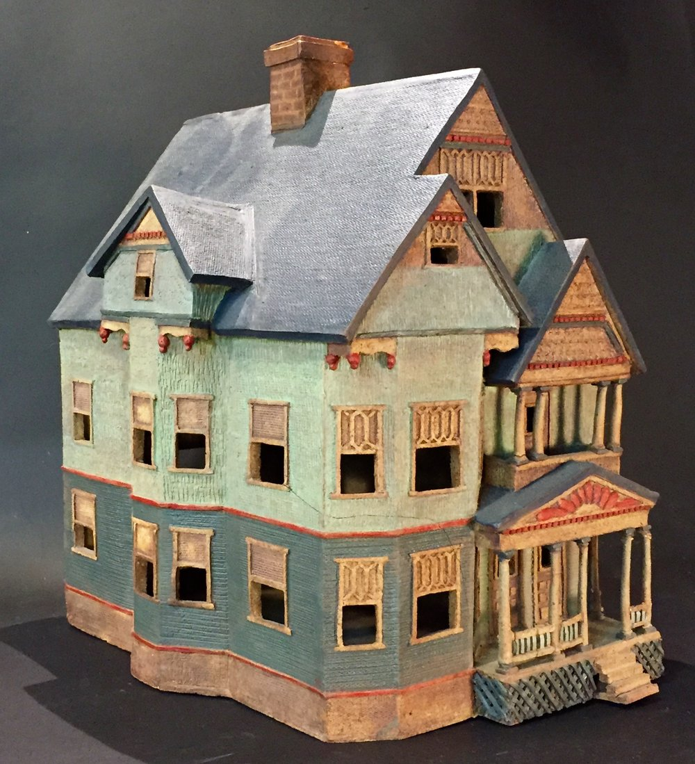 "ONE OF A KIND Clay HOUSE:  Artist's First House        14"" x 18"" x 18""               NFS"