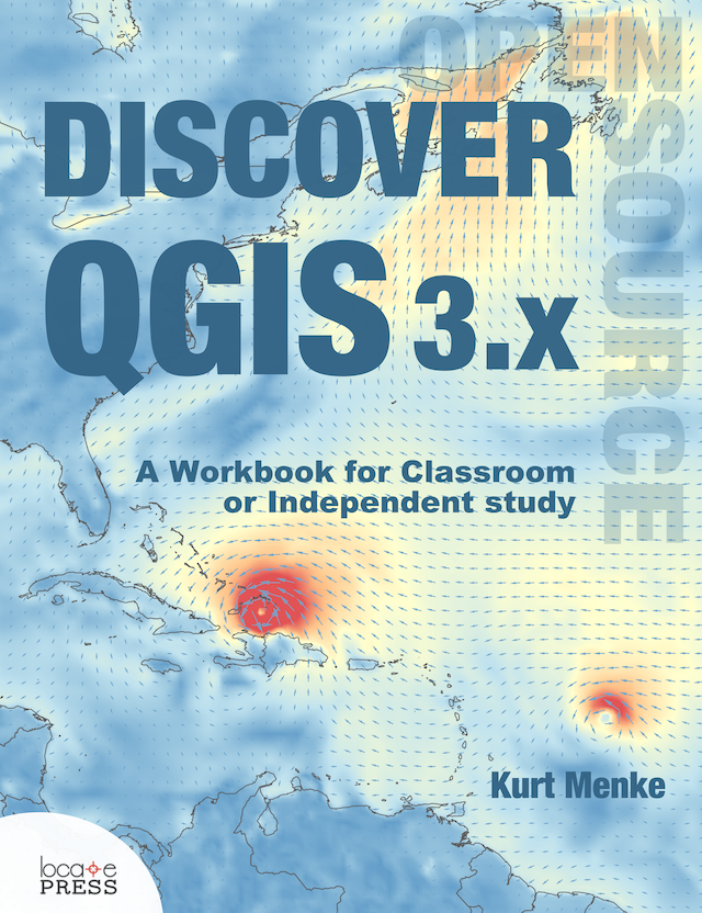 Discover QGIS 3.x - Out Now! - Updated for QGIS 3.6 (long-term release)A workbook for classroom or independent studyLab exercises based on the GeoAcademyData, Discussion questions & Solution files includedChallenge exercisesLearn enhanced workflows with QGIS 3.xCovers Spatial analysis, Data management & CartographyNew section - Advanced Data VisualizationBlending modes | Live layer effects | Expression-based symbology | Geometry generators | Time Manager | 3D | Mesh dataAvailable in Print and e-Book400 pages$35