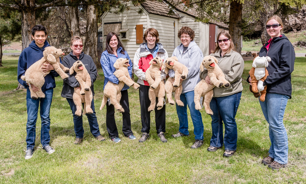 Participants used stuffed dogs to practice first aid and CPR skills at Tetherow Homestead. Photo by Dennis Fehling
