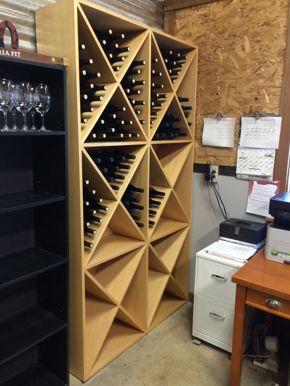 Douglas fir diamond wine rack at Roseburg winery.