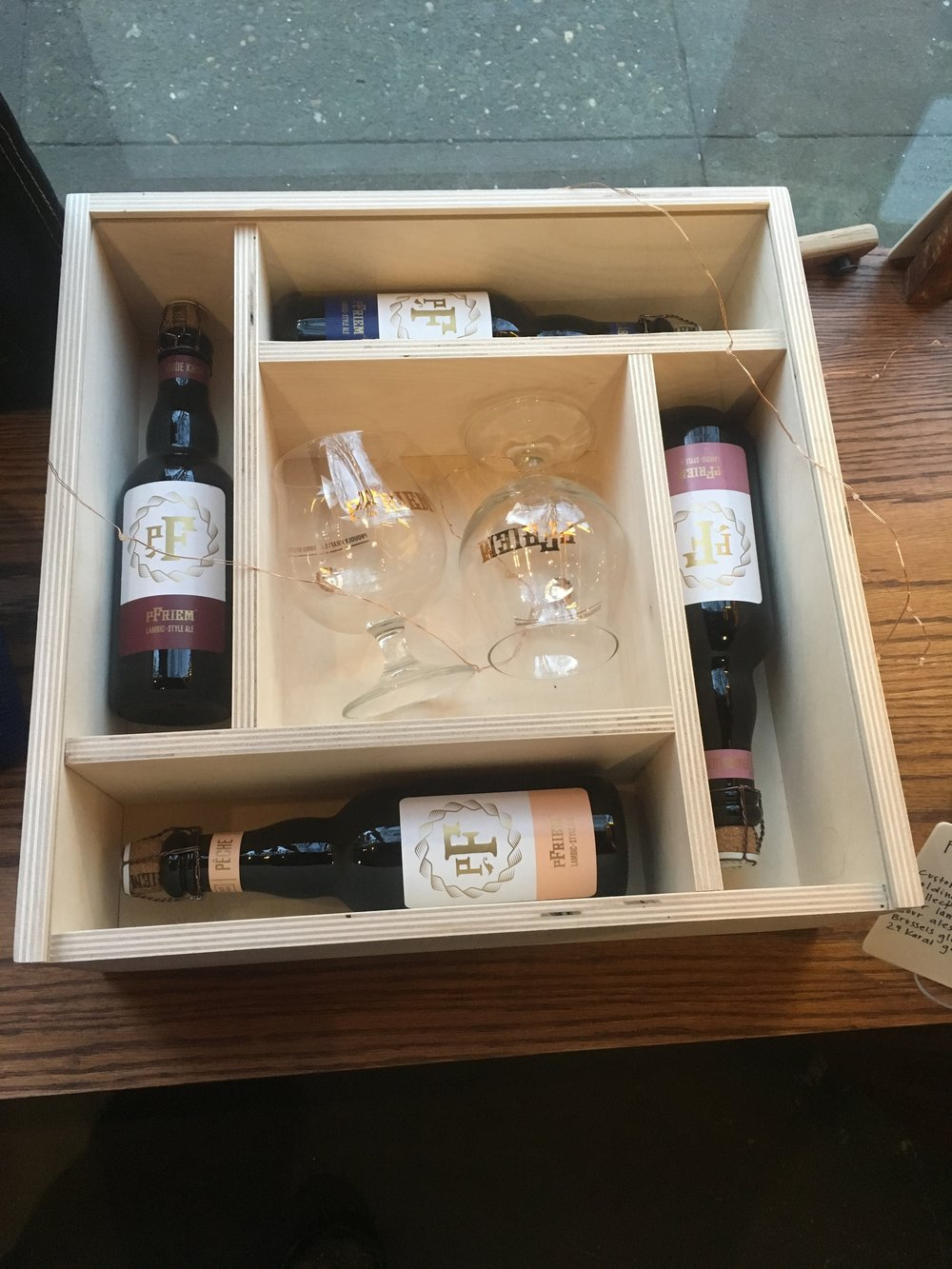 Gift box with bottles and glasses