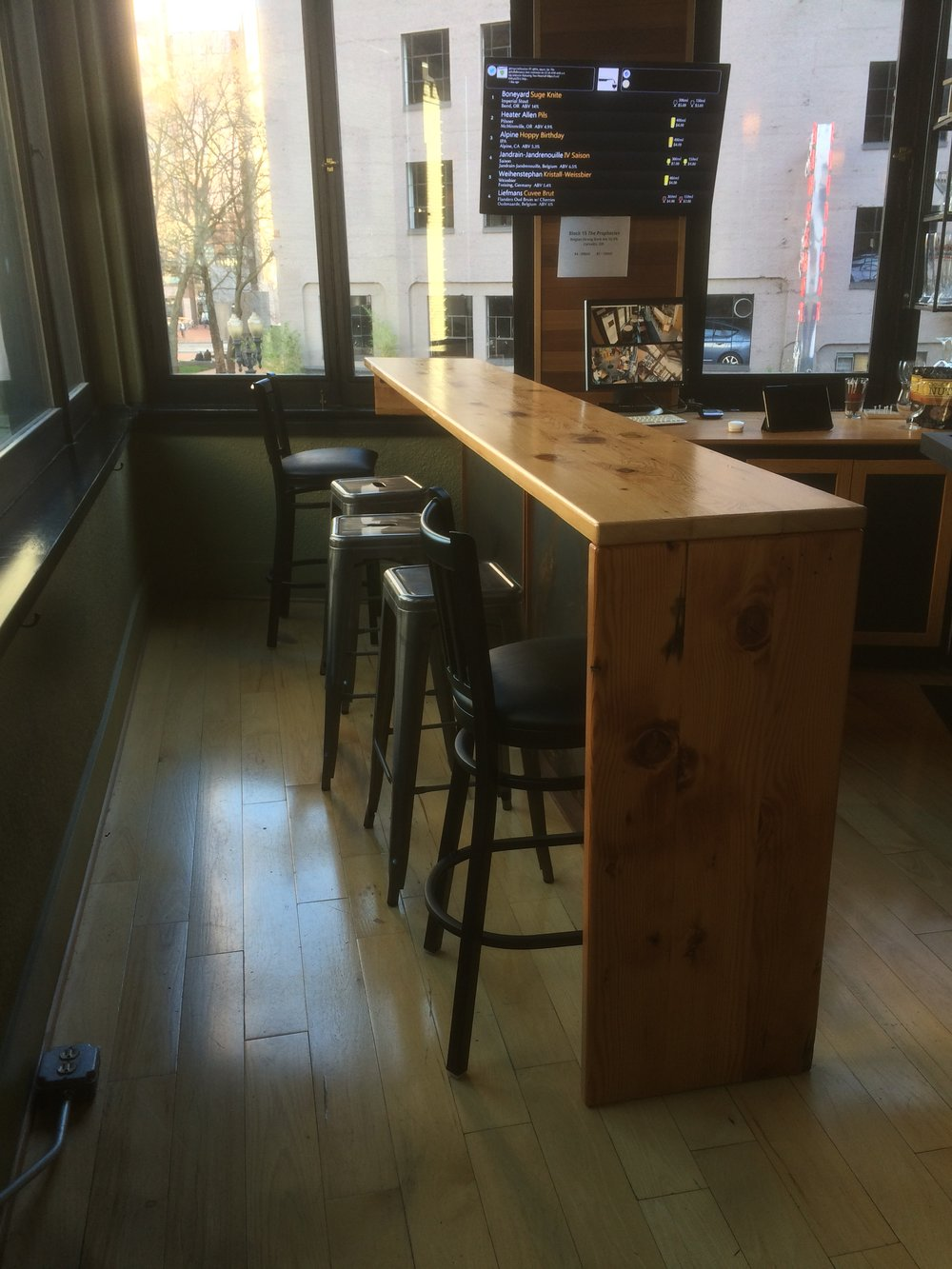 Reclaimed wood bar top.
