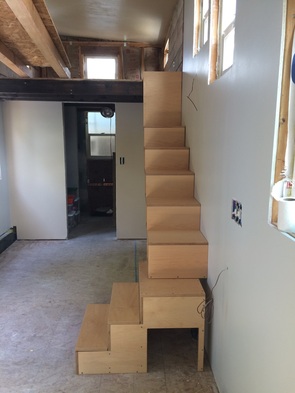 Tiny house stairs - side view.