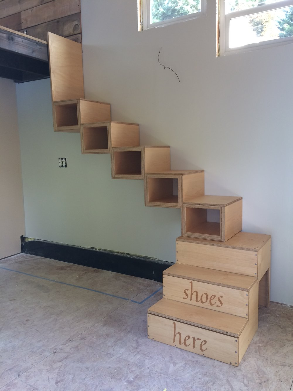Tiny house stairs - front view.