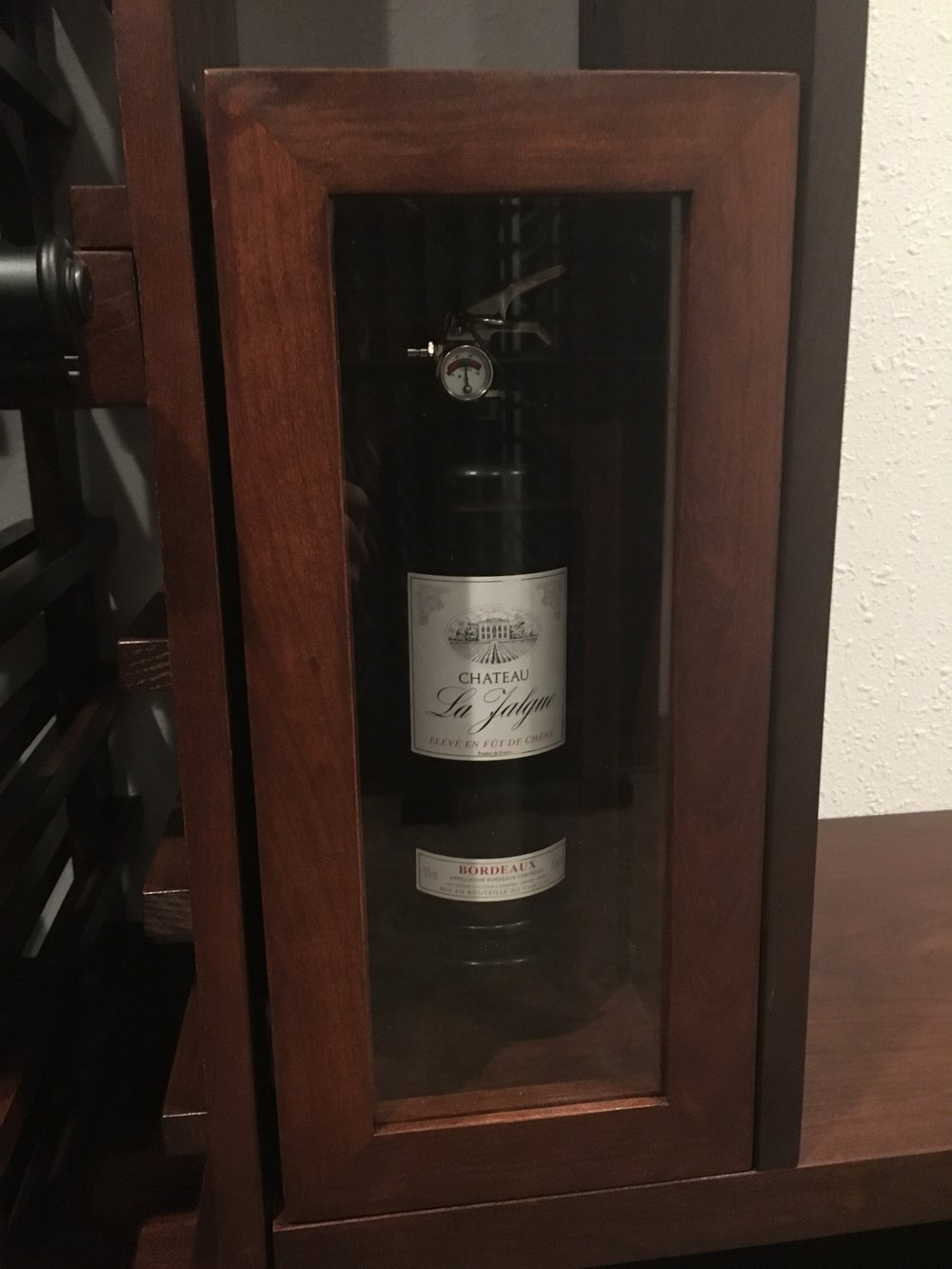 Fire extinguisher box in wine cellar