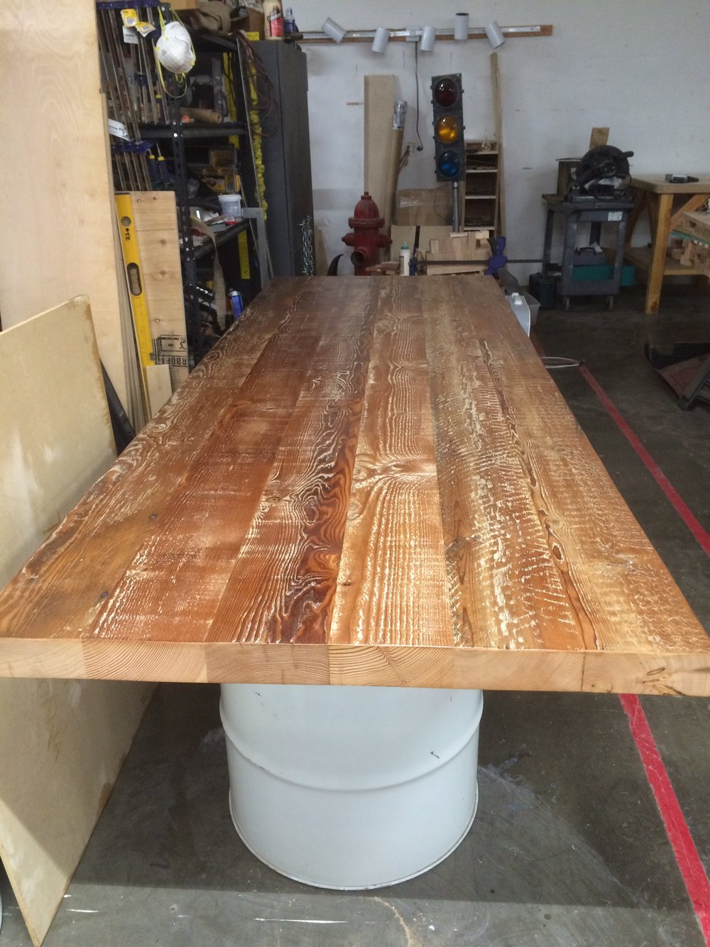 Keen Footwear reclaimed wood and barrel conference table.