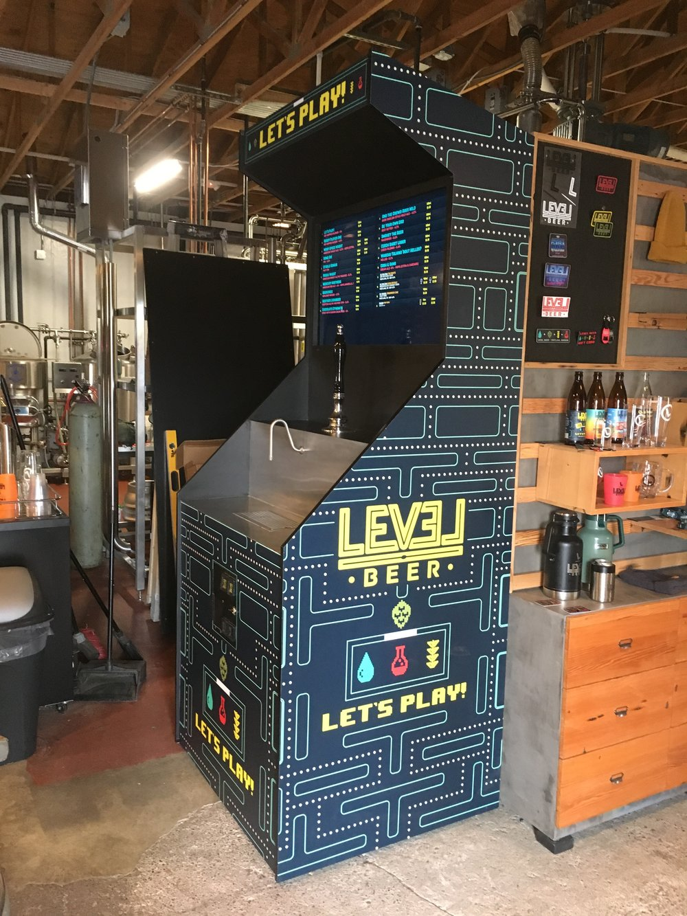 Beercade- custom built arcade shell with fridge, beer engine, and digital tap list screen