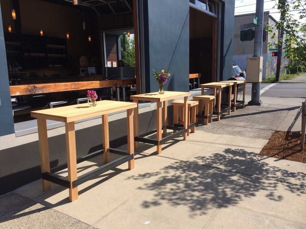 Metal and Douglas fir tables and stools