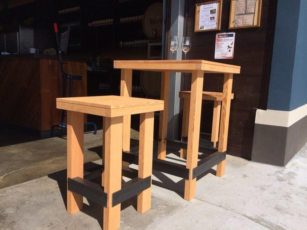 Metal and Douglas fir tables