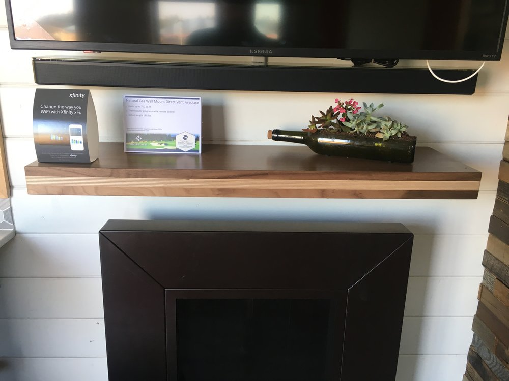 Walnut and apple plywood mantle for Northwest Natural Street of Dreams