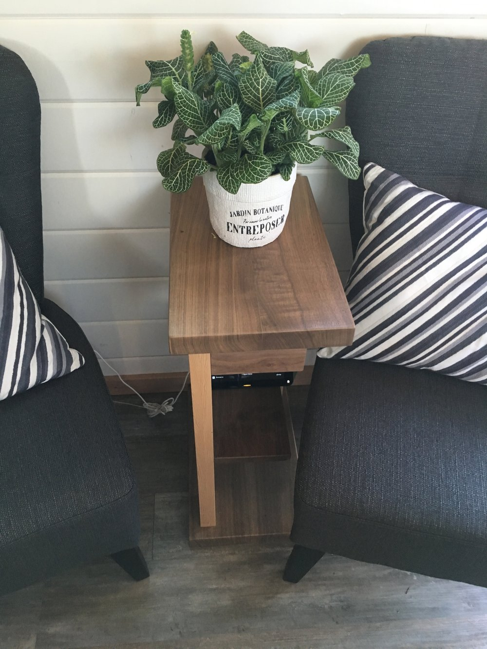 Side table Hemlock and Walnut for Northwest Natural Street of Dreams