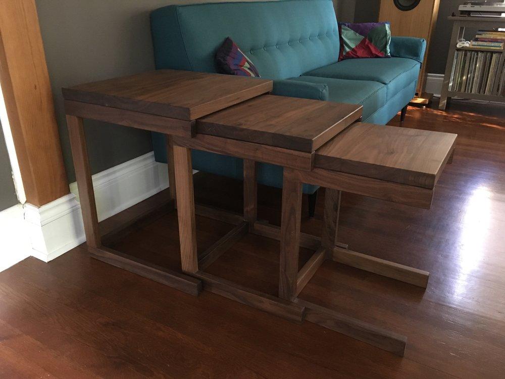 Walnut nesting tables unstacked