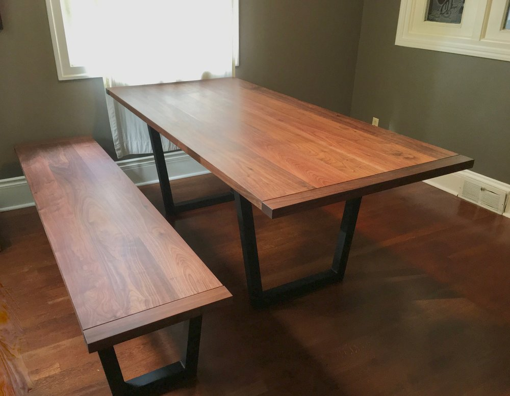 Walnut dinning table and bench