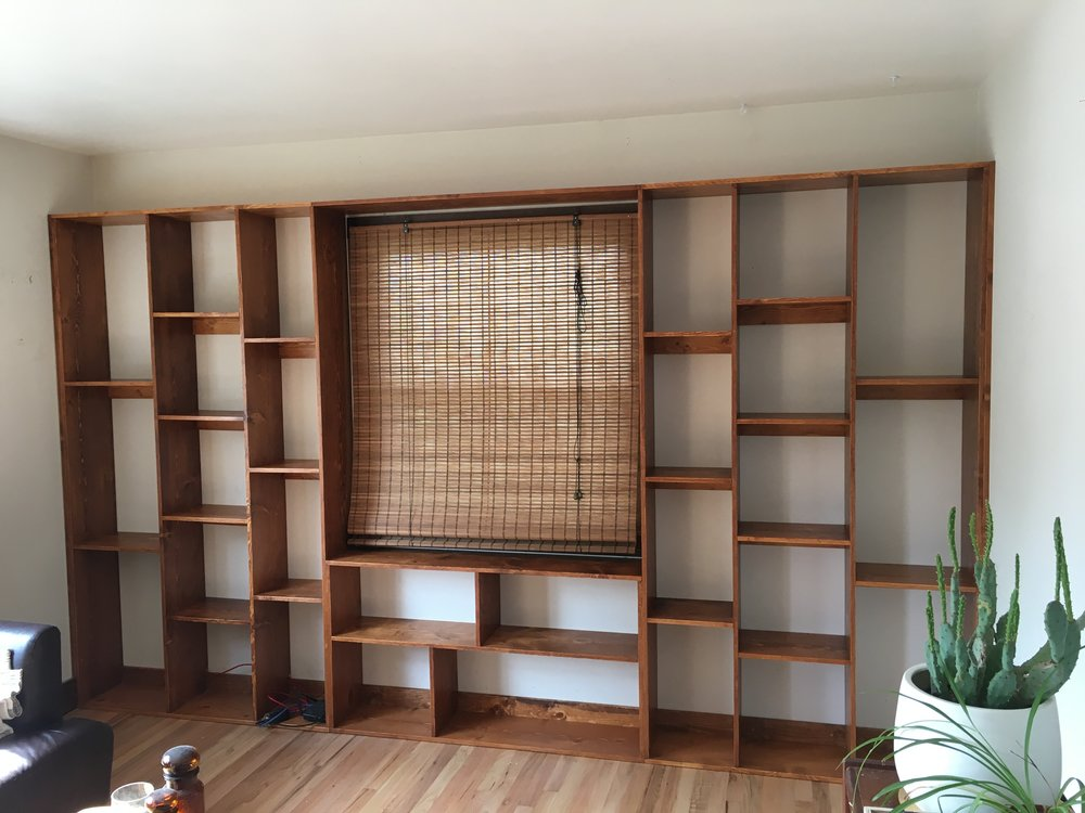 Wall to wall custom bookcase